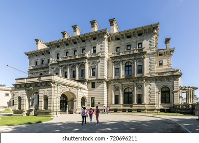 NEWPORT, USA - SEP 23, 2017: the breakers is an old Newport Vanderbilt Mansion  located on Ochre Point Avenue.  Open to public for entrance fee but still run by private owner.