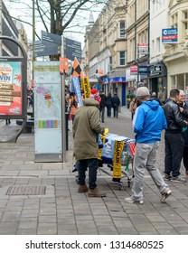 Newport, Wales - Feb 16, 2019: Street Vendor Selling Football Match Souvenier, FA Cup Newport vs Manchester City, Shallow Depth of Field