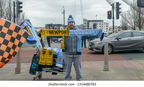Newport, Wales - Feb 16, 2019: Football Match Souvenier Scarf Seller, FA Cup Newport vs Manchester City, Shallow Depth of Field