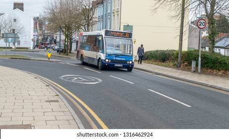 Newport, Wales - Feb 16, 2019: Stagecoach Mini-bus on a Street in Newport, Winter 2019 horizontal photography