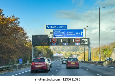 NEWPORT, WALES - NOVEMBER 2018: Vehicles on the M4 motorway at Newport.