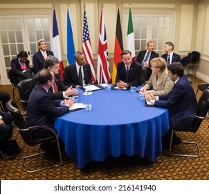 NEWPORT, WALES, UK - Sep 4, 2014:  French President  Hollande, President of Ukraine Poroshenko, US President Obama, British Prime Minister Cameron and German Chancellor Merkel during at NATO summit