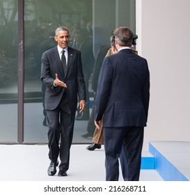 NEWPORT, WALES, UK - Sep 4, 2014:  US President Barack Obama, British Prime Minister David Cameron and NATO Secretary General Anders Fogh Rasmussen at the NATO summit in Newport (Wales, UK)