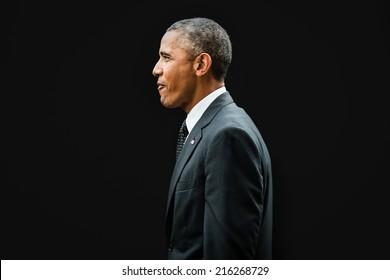 NEWPORT, WALES, UK - Sep 4, 2014: NATO summit. US President Barack Obama at the NATO summit in Newport (Wales, UK)