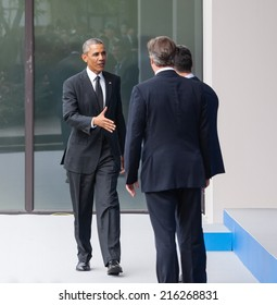 NEWPORT, WALES, UK - Sep 4, 2014: NATO summit. US President Barack Obama, British Prime Minister David Cameron and NATO Secretary General Anders Fogh Rasmussen at the NATO summit in Newport