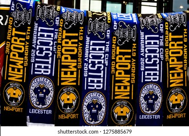 NEWPORT,GWENT,SOUTH WALES, 06/01/2019 HALF AND HALF SCARVES ON SALE IN NEWPORT, GWENT IN THE LEAD UP TO THE FA CUP THIRD ROUND GAME ON SUNDAY 6TH JANUARY 2019 BETWEEN NEWPORT COUNTY AND LEICESTER CITY
