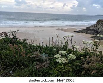 Newquay beach at dawn, cornwall, wales, uk