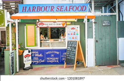 Newquay, Cornwall, England - July 18, 2018: Harbour Seafood restaurant on the Fistral beach in Newquay, major tourist area and surfing sport in Cornwall, England
