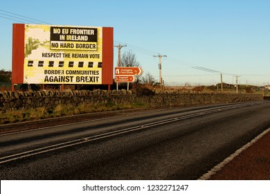 Newry, Northern Ireland, UK; 11 Dec 2017; Brexit Sign at Border