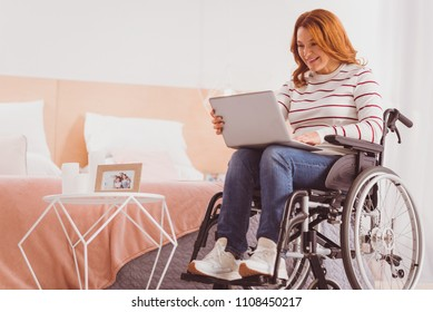 News checkup. Pleased differently abled woman sitting on the wheelchair while using laptop