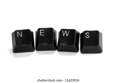 news - computer keys isolated on white background