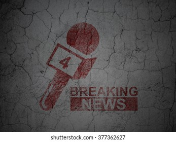 News concept: Breaking News And Microphone on grunge wall background