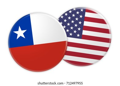 News Concept: Chile Flag Button On US Flag Button, 3d illustration on white background