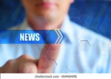 "News concept image. Person touch abstract button with text ""news""."