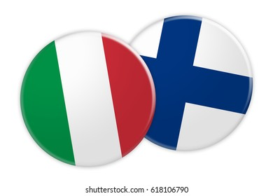 News Concept: Italy Flag Button On Finland Flag Button, 3d illustration on white background