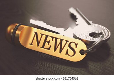 News Concept. Keys with Golden Keyring on Black Wooden Table. Closeup View, Selective Focus, 3D Render. Toned Image.
