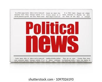 News concept: newspaper headline Political News on White background, 3D rendering