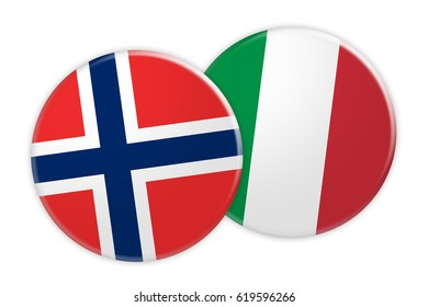 News Concept: Norway Flag Button On Italy Flag Button, 3d illustration on white background