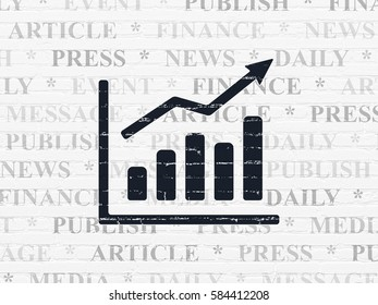 News concept: Painted black Growth Graph icon on White Brick wall background with  Tag Cloud