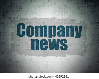News concept: Painted blue text Company News on Digital Data Paper background with   Tag Cloud