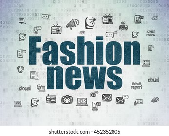 News concept: Painted blue text Fashion News on Digital Data Paper background with  Hand Drawn News Icons