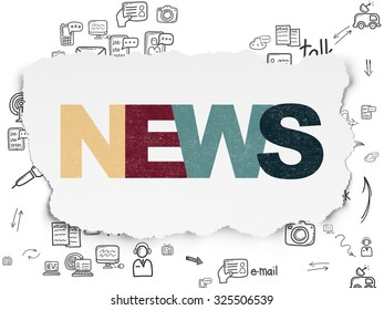 News concept: Painted multicolor text News on Torn Paper background with Scheme Of Hand Drawn News Icons
