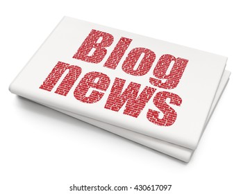 News concept: Pixelated red text Blog News on Blank Newspaper background, 3D rendering