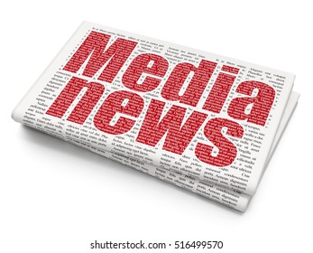 News concept: Pixelated red text Media News on Newspaper background, 3D rendering