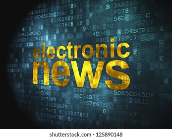 News concept: pixelated words Electronic News on digital background, 3d render