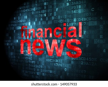 News concept: pixelated words Financial News on digital background, 3d render