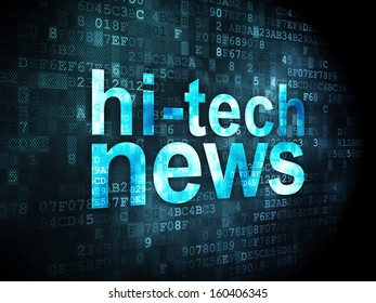 News concept: pixelated words Hi-tech News on digital background, 3d render