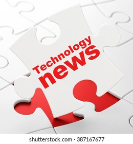 News concept: Technology News on puzzle background