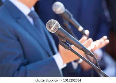News conference. Microphone. Public relations - PR.