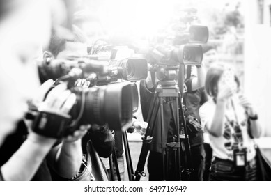 News conference. Spokesman./ Black and white