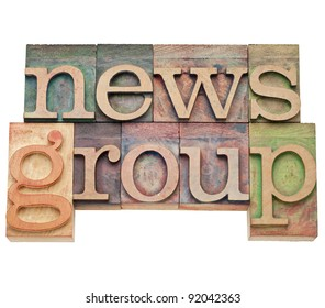 news group - internet concept - isolated text in vintage wood letterpress printing blocks, stained by color inks