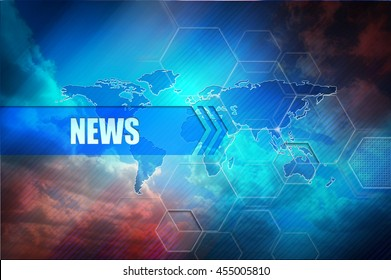 "News header banner, abstract colorful background, global map and text header ""News"". Hightech design image."