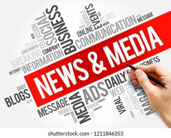 News and Media word cloud collage, social concept background