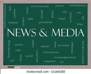 News and Media Word Cloud Concept on a Blackboard with great terms such as television, viral, magazines, social, internet, events and more.