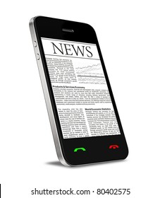 News on mobile phone, smart phone. Isolated on white.