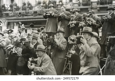 News photographers in Berlin, Germany, 1930s.