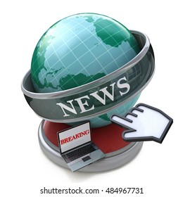 News and press concept: Breaking news, Latest world news in the design of the information related to the world. 3d illustration