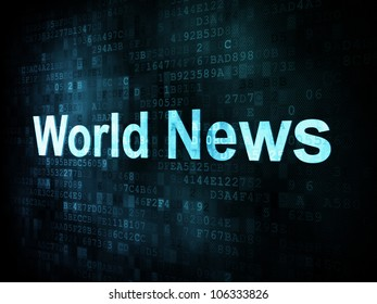 News and press concept: pixelated words World News on digital screen, 3d render