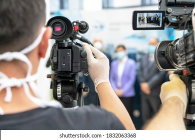 News or press conference during coronavirus COVID-19 pandemic