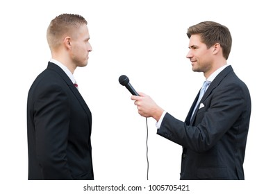 News Reporter Asking Questions To Young Businessman On White Background