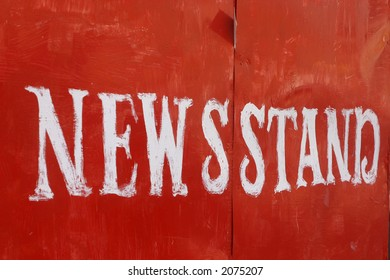 News stand, white over red