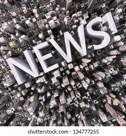 News text in a 3d city aerial view