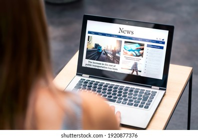 News website in laptop screen with online article and headline. Woman reading newspaper or magazine with computer. Digital web publication portal and internet page. Latest daily media site mockup.