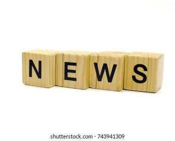 news word wooden blocks on white background