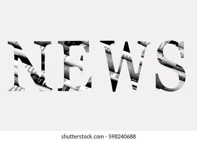 """News"" written with letters cut from newspaper"