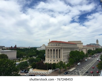 Newseum, Washington, DC -22 June 2016: Cityscape of the street outside Newseum.